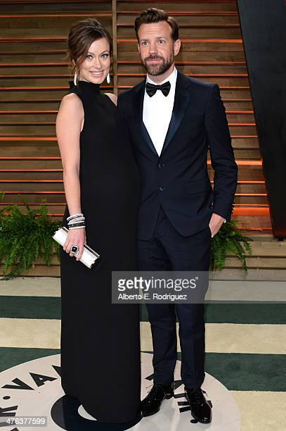 Actors Olivia Wilde and Jason Sudeikis attend the 2014 Vanity Fair Oscar Party hosted by Graydon Carter on March 2 2014 in West Hollywood California