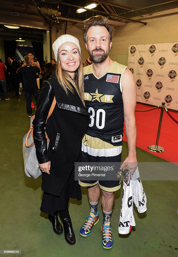 Actors Olivia Wilde and Jason Sudeikis attend the 2016 NBA All-Star Celebrity Game at Ricoh Coliseum on February 12, 2016 in Toronto, Canada.