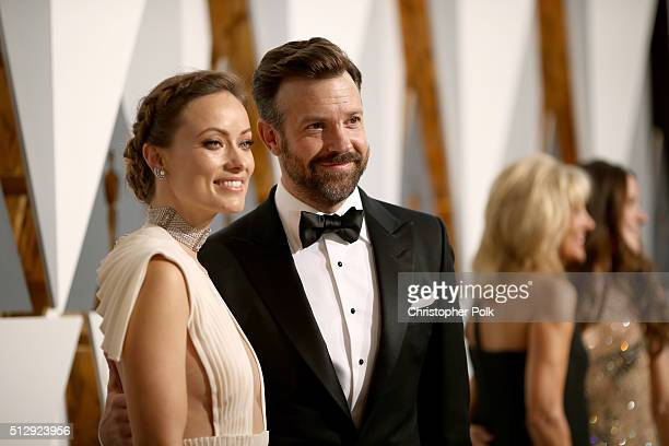 Actors Olivia Wilde and Jason Sudeikis attend the 88th Annual Academy Awards at Hollywood & Highland Center on February 28, 2016 in Hollywood,...