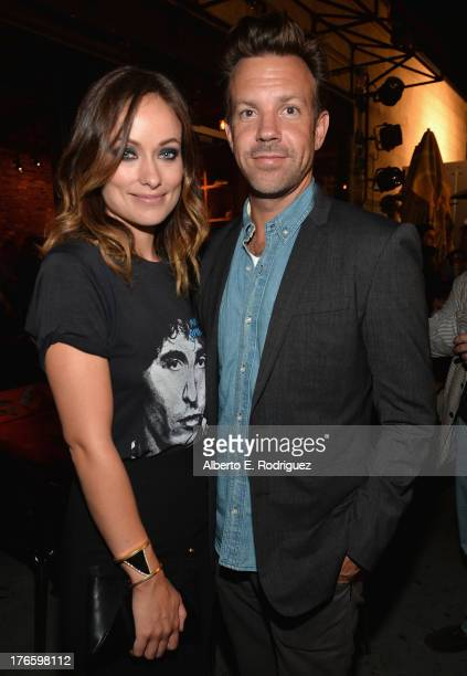Actors Olivia Wilde and Jason Sudeikis attend the after party for a screening of Magnolia Pictures' 'Drinking Buddies' at Umami Burger Hollywood on...