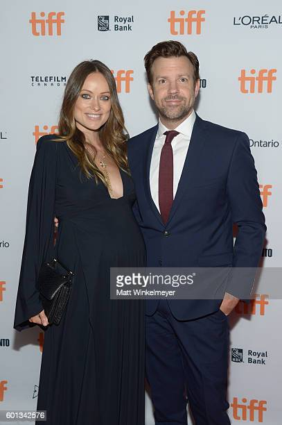 Actors Olivia Wilde and Jason Sudeikis attend the 'Colossal' premiere during the 2016 Toronto International Film Festival at Ryerson Theatre on...
