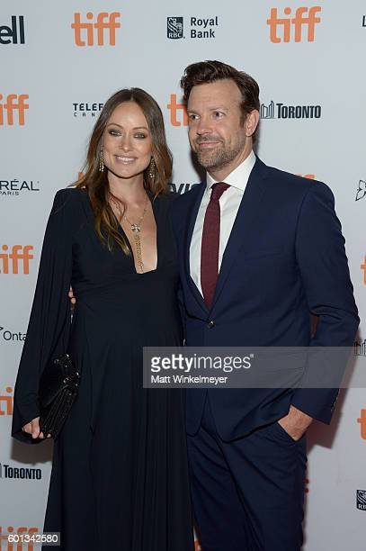 Actors Olivia Wilde and Jason Sudeikis attend the Colossal premiere during the 2016 Toronto International Film Festival at Ryerson Theatre on...