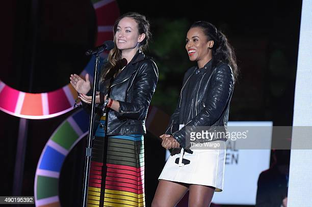 Actors Olivia Wilde and Kerry Washington speak on stage at the 2015 Global Citizen Festival to end extreme poverty by 2030 in Central Park on...