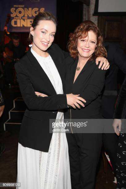 Actors Olivia Wilde and Susan Sarandon attend BOVET 1822 Artists for Peace and Justice Present Songs From The Cinema Benefit on March 3 2018 in Los...