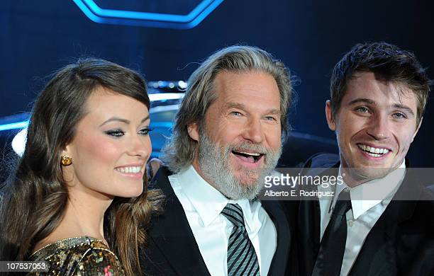 Actors Olivia Wilde Jeff Bridges and Garrett Hedlund arrive at Walt Disney's TRON Legacy World Premiere held at the El Capitan Theatre on December 11...