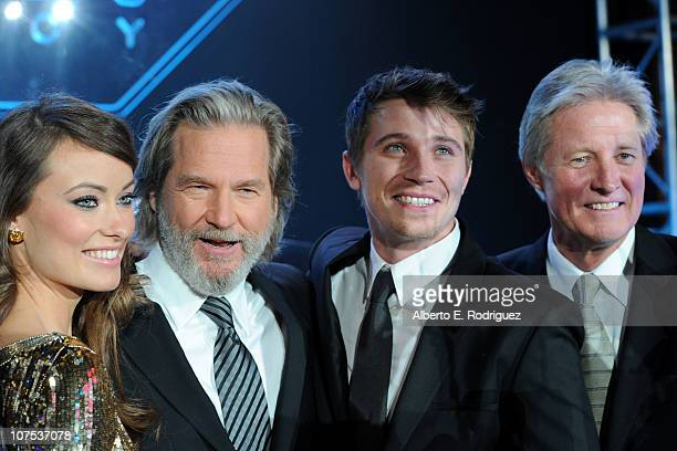 Actors Olivia Wilde Jeff Bridges Garrett Hedlund and Bruce Boxleitner arrive at Walt Disney's TRON Legacy World Premiere held at the El Capitan...