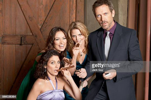 Actors Olivia Wilde Jennifer Morrison Lisa Edelstein and Hugh Laurie are photographed for TV Guide Magazine in 2008 in Los Angeles California