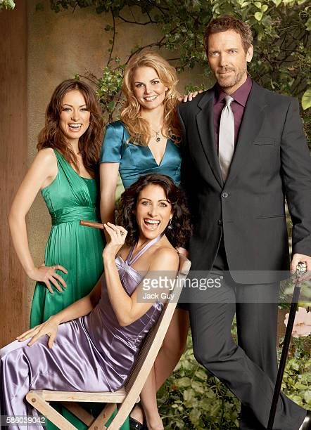 Actors Olivia Wilde Jennifer Morrison Lisa Edelstein and Hugh Laurie are photographed for TV Guide Magazine in 2008 in Los Angeles California COVER...