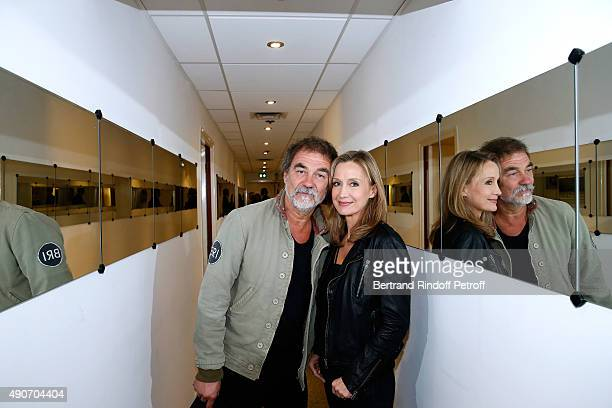 Actors Olivier Marchal and his wife Catherine attend the 'Vivement Dimanche' French TV Show at Pavillon Gabriel on September 30 2015 in Paris France