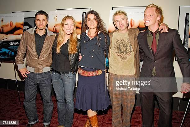 Actors Olivier Martinez Agnes Bruckner director Katja von Garnier and actors Peter Wilson and Chris Gere attend a promo screening of the movie Blood...