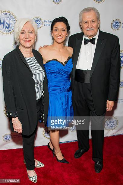 Actors Olympia Dukakis Anthoula Katsimatides and John Aniston attend the Hellenic Times Scholarship Fund 21st Anniversary Gala at Marriott Marquis...