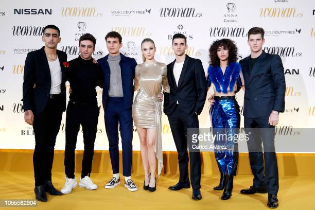 Actors Omar Ayuso Itzan Escamilla Aron Piper Ester Exposito Alvaro Rico Mina El Hammani and Miguel Bernardeau attend Woman awards 2018 at the Casino...