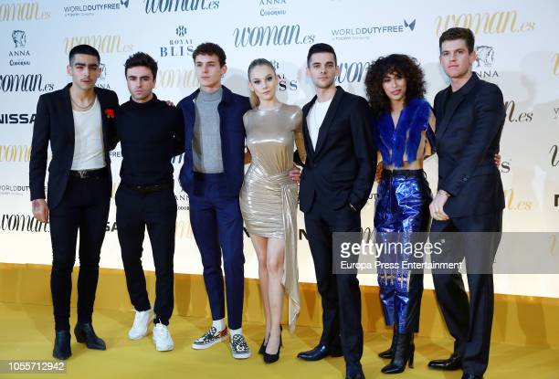 Actors Omar Ayuso Itzan Escamilla Aron Piper Ester Exposito Alvaro Rico Mina El Hammani and Miguel Bernardeau attend the Woman Magazine Awards...