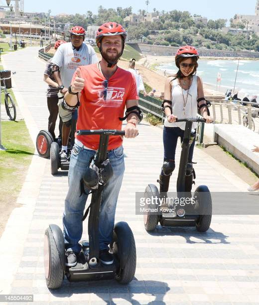 Actors Omar Benson Miller Carmine Giovinazzo and Vanessa Marcil take a Segway tour of Tel Aviv on May 31 2012 in Tel Aviv Israel