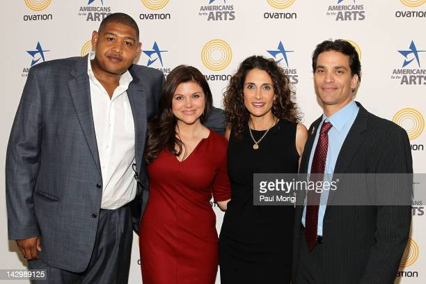 Actors Omar Benson Miller Tiffani Thiessen Melina Kanakaredes and Johnathon Schaech pose for a photo at The Americans For The Arts 25th Annual Nancy...