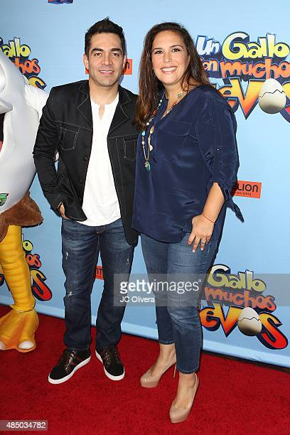 Actors Omar Chaparro and Angelica Vale attend the premiere of Pantelion Films' 'Un Gallo Con Muchos Huevos' at Regal Cinemas LA Live on August 23...