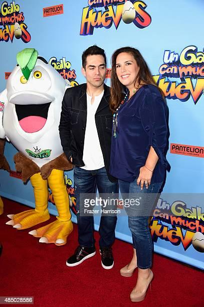 Actors Omar Chaparro and Angelica Vale attend the Un Gallo Con Muchos Huevos US Premiere at Regal Cinemas LA Live on August 23 2015 in Los Angeles...