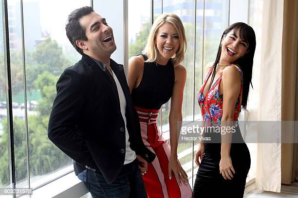 Actors Omar Chaparro Fernanda Castillo and Martha Higareda pose for pictures prior a press conference to present the movie No Manches Frida at The St...
