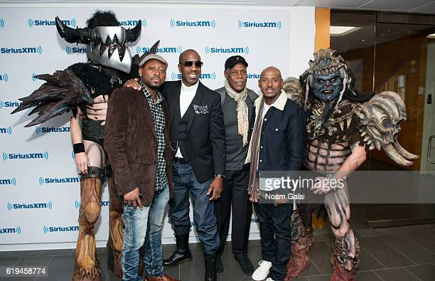 Actors Omar Epps, J. B. Smoove, Danny Glover and Romany Malco pose with Mike Derks aka Balsac the Jaws of Death and Brent Purgason aka Pustulus...