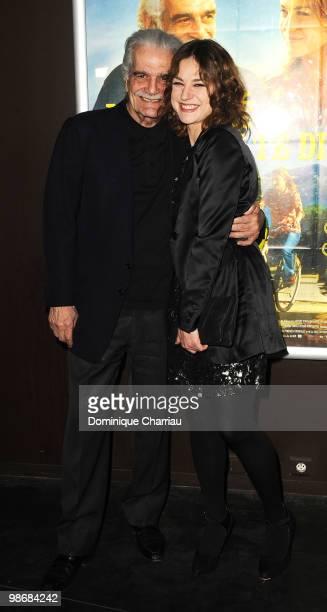 Actors Omar Sharif and Emilie Dequenne attend the 'J'ai Oublie de te Dire' premiere at Le Cinema des Cineastes on April 26, 2010 in Paris, France.