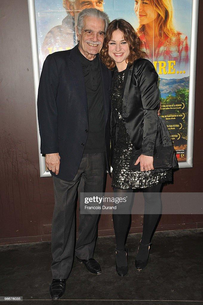 Actors Omar Sharif (L) and Emilie Dequenne attend the premiere for 'J'ai Oublie de te Dire' at Le Cinema des Cineastes on April 26, 2010 in Paris, France.