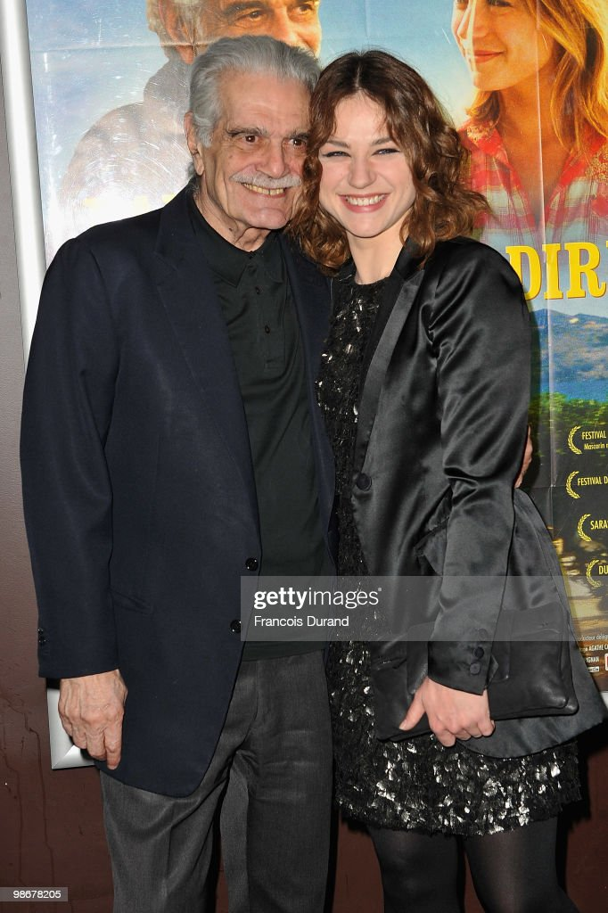 Actors Omar Sharif (L) and Emilie Dequenne attend the premiere for 'J'ai Oublie de te Dire' at Le Cinema des Cineastes on April 26, 2010 in Paris, France.
