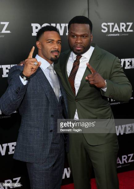 Actors Omari Hardwick and Curtis 50 Cent Jackson pose for a picture during the Power Season 5 premiere at Radio City Music Hall on June 28 2018 in...