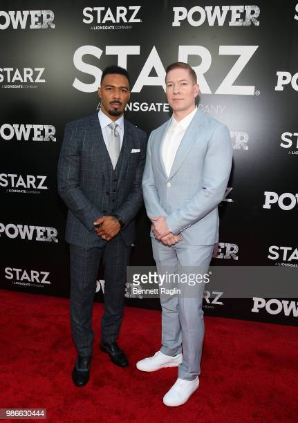 Actors Omari Hardwick and Joseph Sikora pose for a picture during the Power Season 5 premiere at Radio City Music Hall on June 28 2018 in New York...