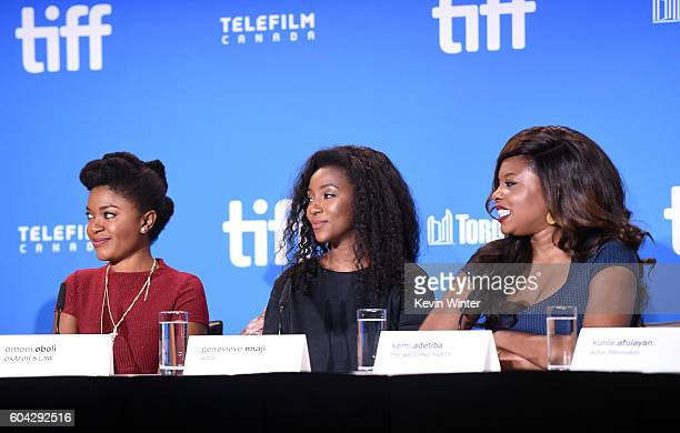 Actors Omoni Obol Genevieve Nnaji and director Kemi Adetiba speak onstage at the 'City to City' press conference during the 2016 Toronto...