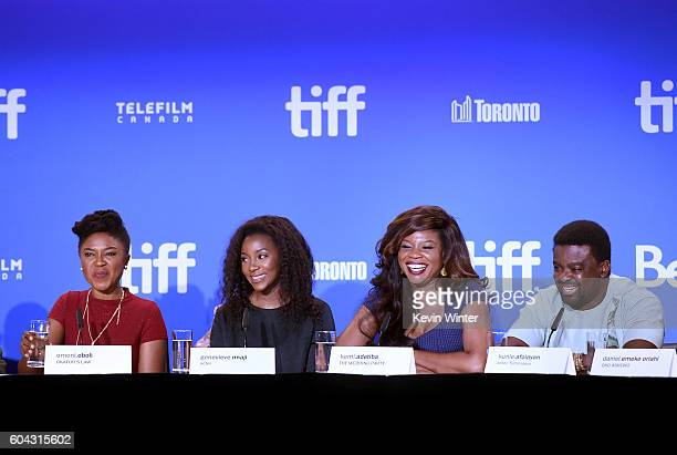 Actors Omoni Oboli Genevieve Nnaji director Kemi Adetiba and actor Kunle Afolayan speak onstage at the 'City to City' press conference during the...