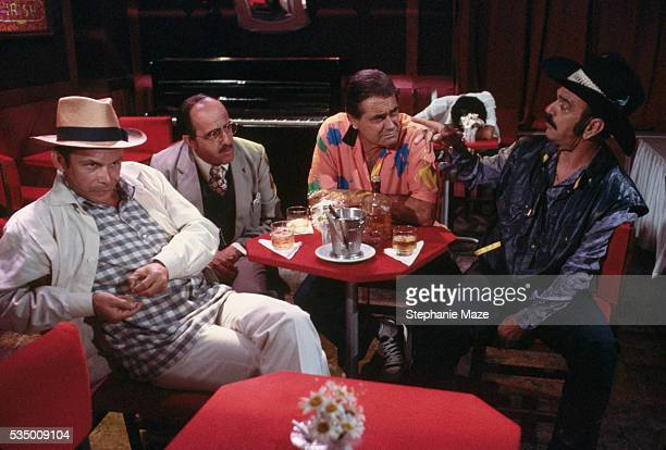 actors on soap opera set - television show stock pictures, royalty-free photos & images