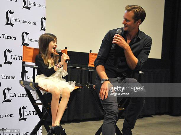 Actors Onata Aprile and Alexander Skarsgard attend the LA Times Indie Focus Screening of What Masie Knew at Laemmle NoHo 7 on May 16 2013 in North...