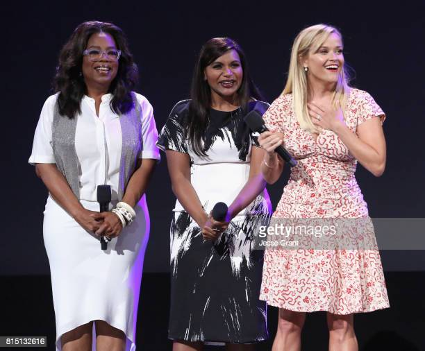 Actors Oprah Winfrey Mindy Kaling and Reese Witherspoon of A WRINKLE IN TIME took part today in the Walt Disney Studios live action presentation at...