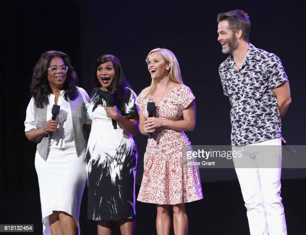 Actors Oprah Winfrey Mindy Kaling Reese Witherspoon and Chris Pine of A WRINKLE IN TIME took part today in the Walt Disney Studios live action...