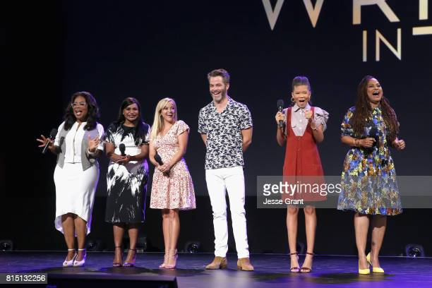 Actors Oprah Winfrey Mindy Kaling Reese Witherspoon Chris Pine Storm Reid and director Ava DuVernay of A WRINKLE IN TIME took part today in the Walt...