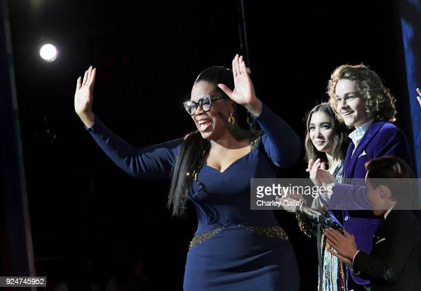 Actors Oprah Winfrey Rowan Blanchard and Levi Miller speak onstage at the world premiere of Disney's 'A Wrinkle in Time' at the El Capitan Theatre in...