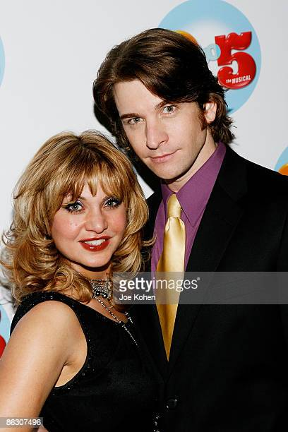 Actors Orfeh and husband Andy Karl attend the 9 to 5 The Musical Broadway opening night party at the Marriott Marquis on April 30 2009 in New York...