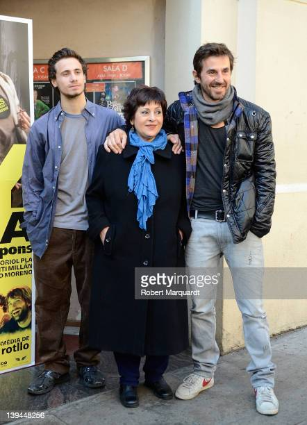 Actors Oriol Pla Amparo Moreno and Santi Millan attend a photocall for their latest film 'Any de Gracia' at the Cine Verdi on February 21 2012 in...