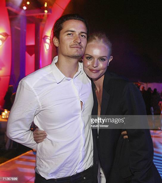 Actors Orlando Bloom and Kate Bosworth arrive at the afterparty for the premiere of Warner Bros Superman Returns on June 21 2006 in Los Angeles...