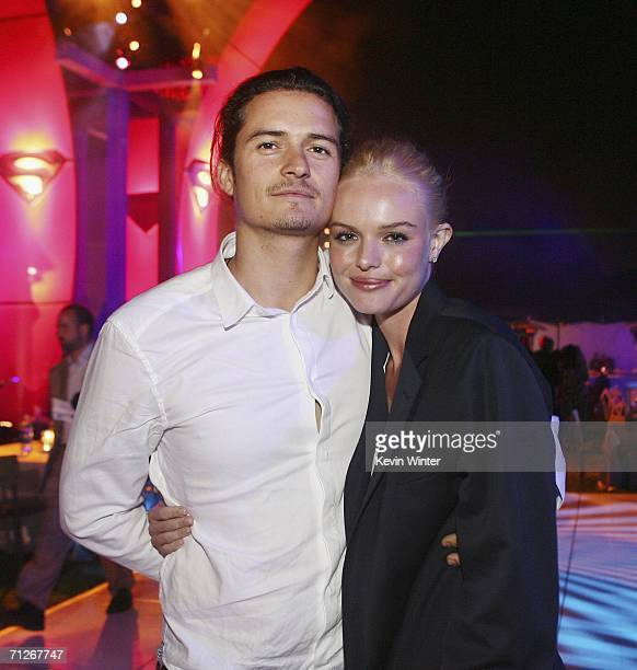 Actors Orlando Bloom and Kate Bosworth arrive at the afterparty for the premiere of Warner Bros 'Superman Returns' on June 21 2006 in Los Angeles...