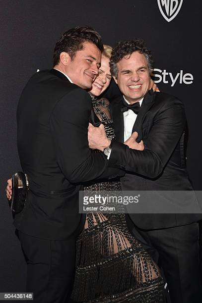 Actors Orlando Bloom Sunrise Coigney and Mark Ruffalo attend InStyle and Warner Bros 73rd Annual Golden Globe Awards PostParty at The Beverly Hilton...