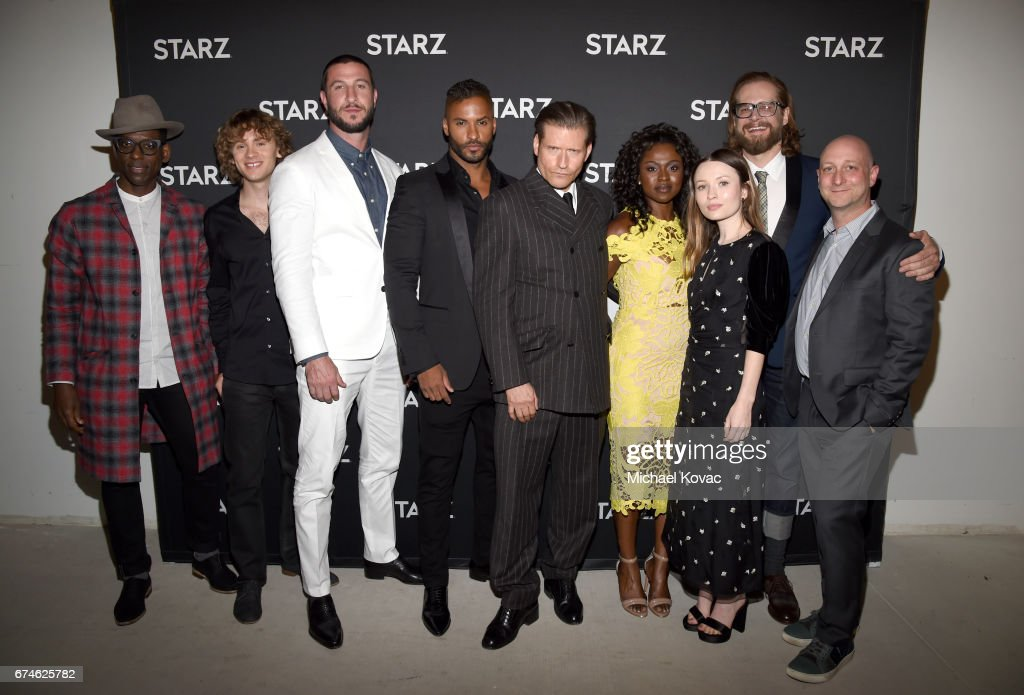 Actors Orlando Jones, Bruce Langley, Pablo Schreiber, Ricky Whittle, Crispin Glover, Yetide Badaki, Emily Browning, Producer/showrunner Bryan Fuller and Producer/showrunner Michael Green attend the American Gods FYC event at Saban Media Center on April 28, 2017 in North Hollywood, California.