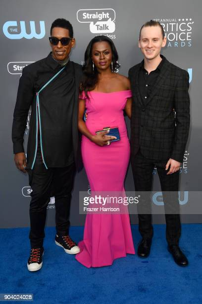 Actors Orlando Jones Yetide Badaki and Bruce Langley attend The 23rd Annual Critics' Choice Awards at Barker Hangar on January 11 2018 in Santa...