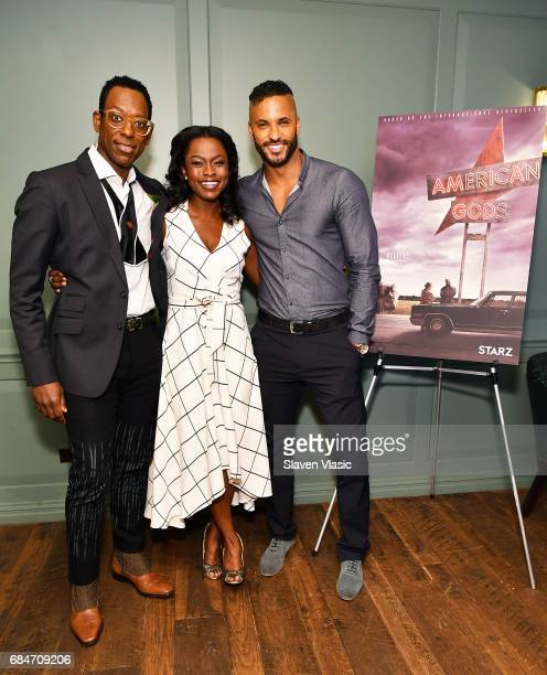 Actors Orlando Jones Yetide Badaki and Ricky Whittle attend 'American Gods' Junket Mixer at Soho House on May 18 2017 in New York City