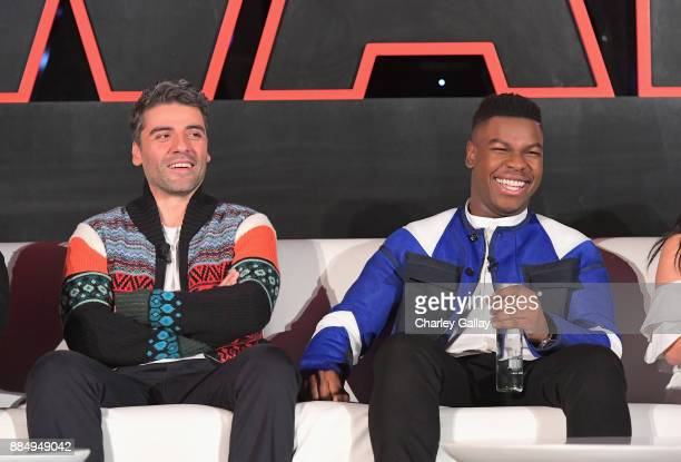 Actors Oscar Isaac and John Boyega attend the press conference for the highly anticipated Star Wars The Last Jedi at InterContinental Los Angeles on...