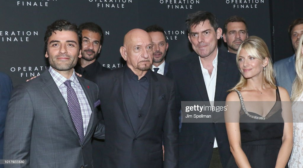 Actors Oscar Isaac, Ben Kingsley, Chris Weitz and actress Melanie Laurent attend the 'Operation Finale' New York premiere at Walter Reade Theater on August 16, 2018 in New York City.