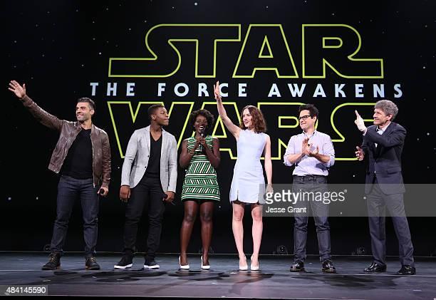 Actors Oscar Isaac John Boyega Lupita Nyong'o Daisy Ridley director JJ Abrams of STAR WARS THE FORCE AWAKENS and Chairman of the Walt Disney Studios...
