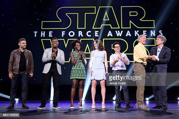 Actors Oscar Isaac John Boyega Lupita Nyong'o Daisy Ridley director JJ Abrams and actor Harrison Ford of STAR WARS THE FORCE AWAKENS and Chairman of...