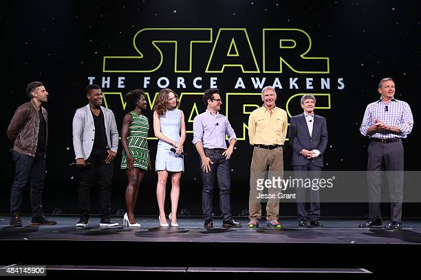 Actors Oscar Isaac John Boyega Lupita Nyong'o Daisy Ridley director JJ Abrams and actor Harrison Ford of STAR WARS THE FORCE AWAKENS Chairman of the...