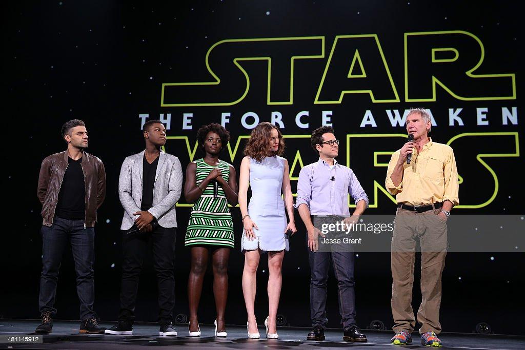 Actors Oscar Isaac, John Boyega, Lupita Nyong'o, Daisy Ridley, director J.J. Abrams and actor Harrison Ford of